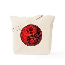 Red and Black Yin Yang Roses Tote Bag