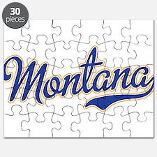 Montana Script Font Blue Puzzle