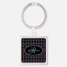 Trendy Nautical Anchor Monogram Square Keychain