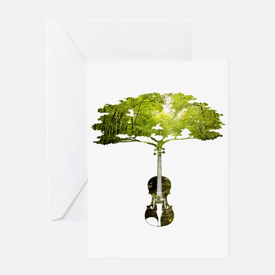 Violin tree Greeting Cards