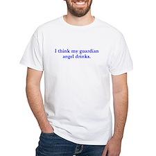 My guardian angel drinks - blue text T-Shirt