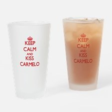 Keep Calm and Kiss Carmelo Drinking Glass