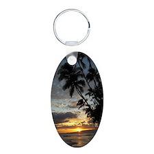 Hawaiian Sunset Aluminum Oval Keychain