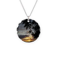 Hawaiian Sunset Necklace Circle Charm