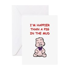 pig in the mud Greeting Cards