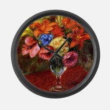 Glackens - Poppies, Lilies and Bl Large Wall Clock
