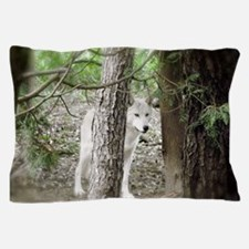 Watchful White Wolf Pillow Case
