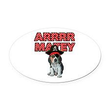 Pirate Beagle Puppy Oval Car Magnet