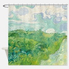 Green Wheat Fields By Van Gogh Shower Curtain