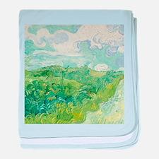 Green Wheat Fields by Van Gogh baby blanket