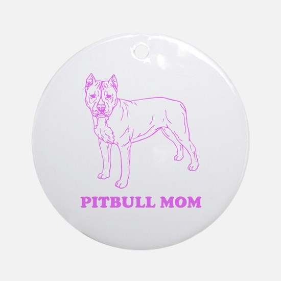 Pitbull Mom Ornament (Round)