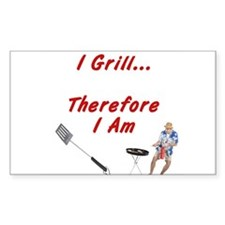 I Grill Therefore I AM Rectangle Decal