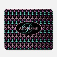 Anchors Aweigh Monogram Mousepad