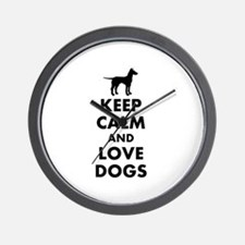 Keep calm and love dogs Wall Clock