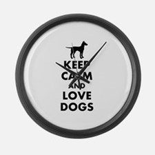 Keep calm and love dogs Large Wall Clock