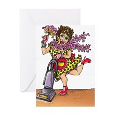 Cleaning Lady - Vacuum Greeting Cards