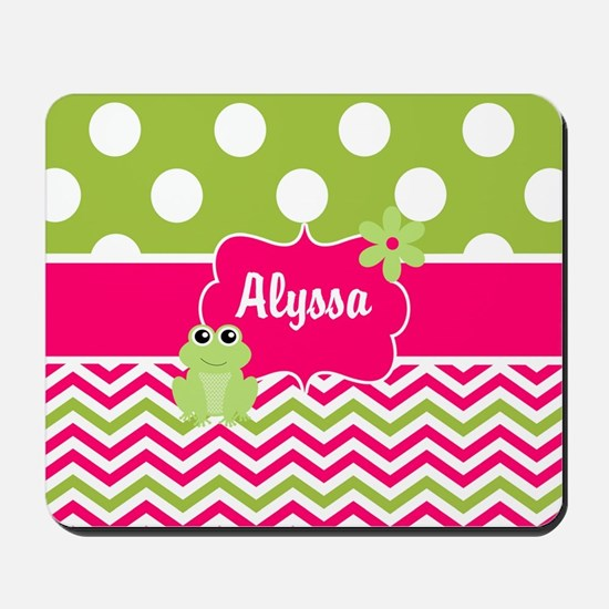 Pink Green Chevron Frog Personalized Mousepad