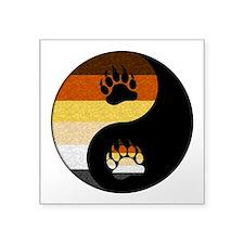 "Bear Yin and Yang Square Sticker 3"" x 3"""