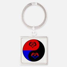 Polyamorous Yin and Yang Square Keychain