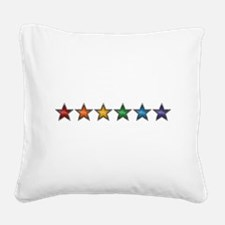 Rainbow Stars Square Canvas Pillow