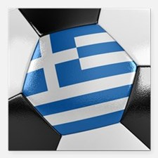 "Greece Soccer Ball Square Car Magnet 3"" x 3"""