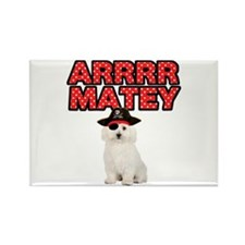 Pirate Bichon Frise Rectangle Magnet