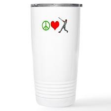 PEACE, LOVE, BASEBALL Travel Mug