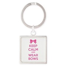 Keep calm and wear bows Square Keychain