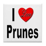 I Love Prunes Tile Coaster