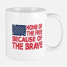 Home of the Free Because of the Brave USA Flag Mug