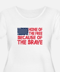 Home of the Free Because of the Brave USA Flag Plu