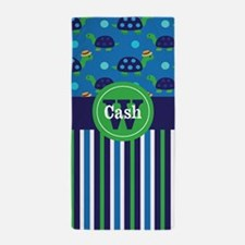 Sea Turtles Navy Green Personalized Beach Towel