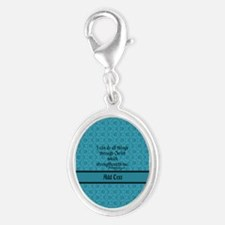 Philippians 4:13 Word teal Silver Oval Charm