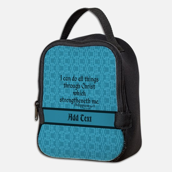 Philippians 4:13 Word teal Neoprene Lunch Bag