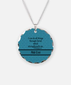 Philippians 4:13 Word teal Necklace