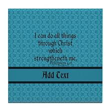 Philippians 4:13 Word teal Tile Coaster