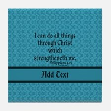 Philippians 4:13 Word teal Tile Coaster