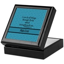 Philippians 4:13 Word teal Keepsake Box