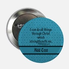 """Philippians 4:13 Word teal 2.25"""" Button"""
