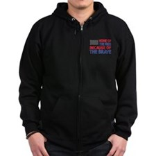Home of the Free Because of the Brave USA Flag Zip Hoodie