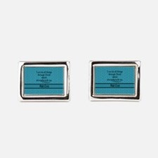 Philippians 4:13 Word teal Rectangular Cufflinks
