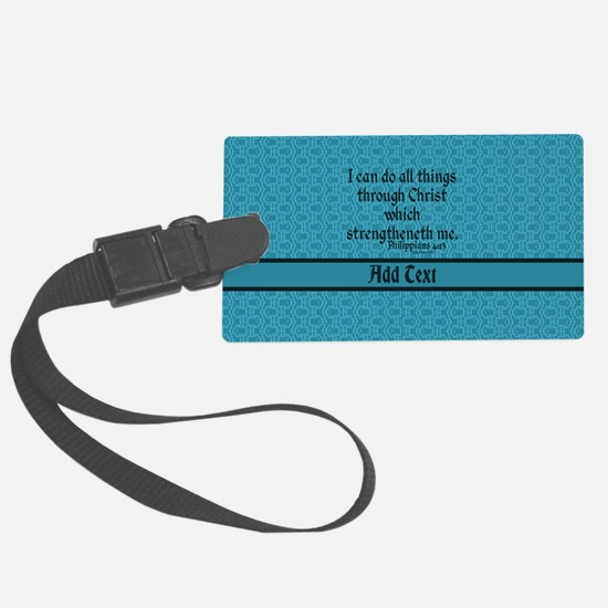 Philippians 4:13 Word teal Large Luggage Tag
