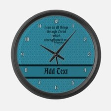 Philippians 4:13 Word teal Large Wall Clock
