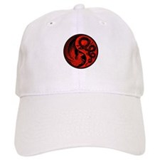 Red and Black Dragon Phoenix Yin Yang Hat