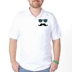 Mustache Blue Sunglasses Golf Shirt