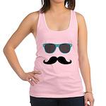 Mustache Blue Sunglasses Racerback Tank Top