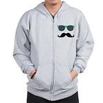 Mustache Blue Sunglasses Zipped Hoody