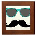 Mustache Blue Sunglasses Framed Tile