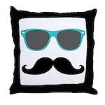 Mustache Blue Sunglasses Throw Pillow