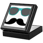 Mustache Blue Sunglasses Keepsake Box